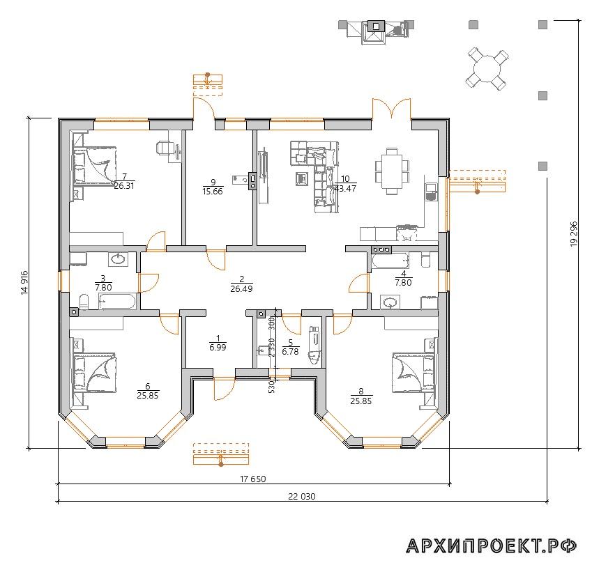 Одноэтажный дом 200 кв м терраса барбекю планировка