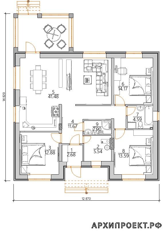 Одноэтажный дом с отличной планировкой планировка