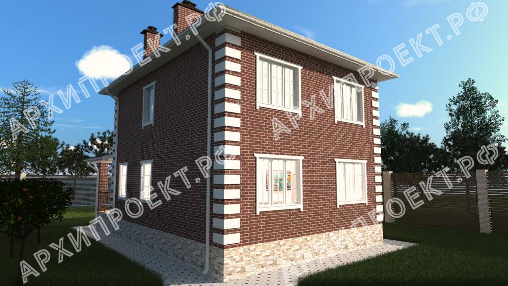 Недорогой двухэтажный дом с террасой спереди