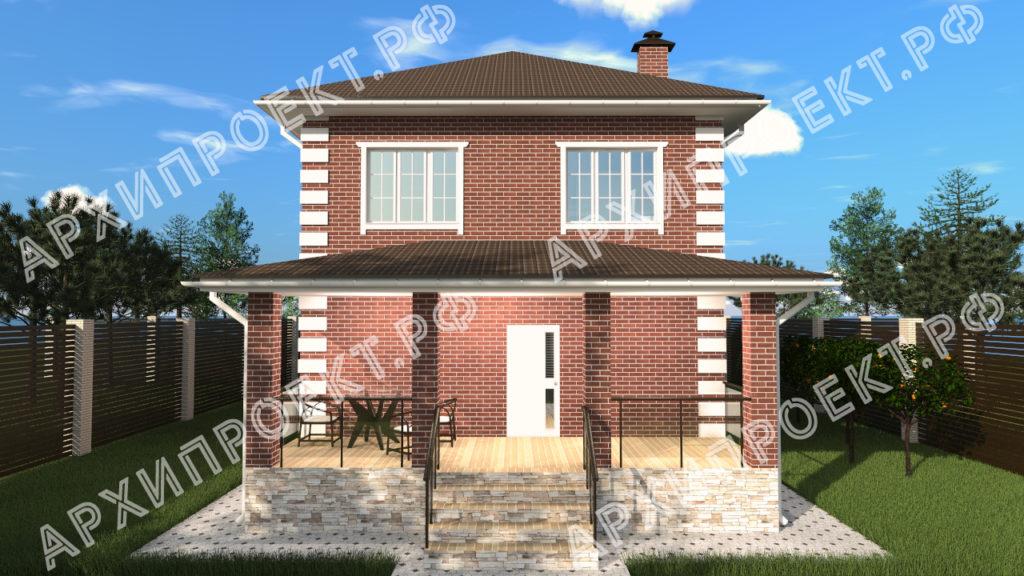 Недорогой двухэтажный дом с террасой