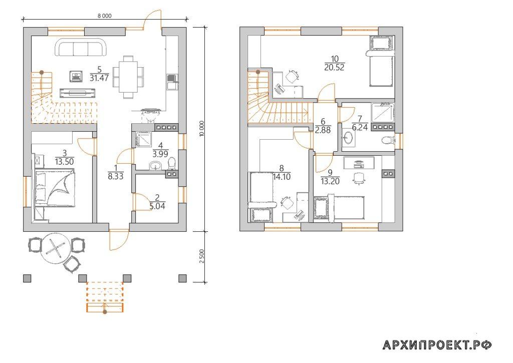 Недорогой двухэтажный дом с террасой спереди планировка