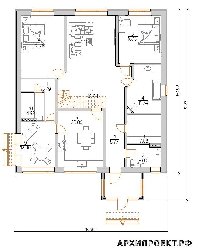 Проект одноэтажного дома с сауной планировка