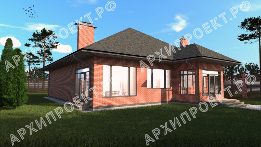 Проект одноэтажного дома с сауной