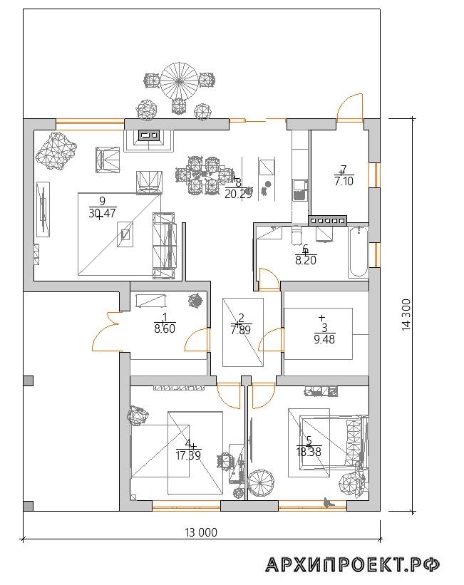 Проект дома с камином планировка