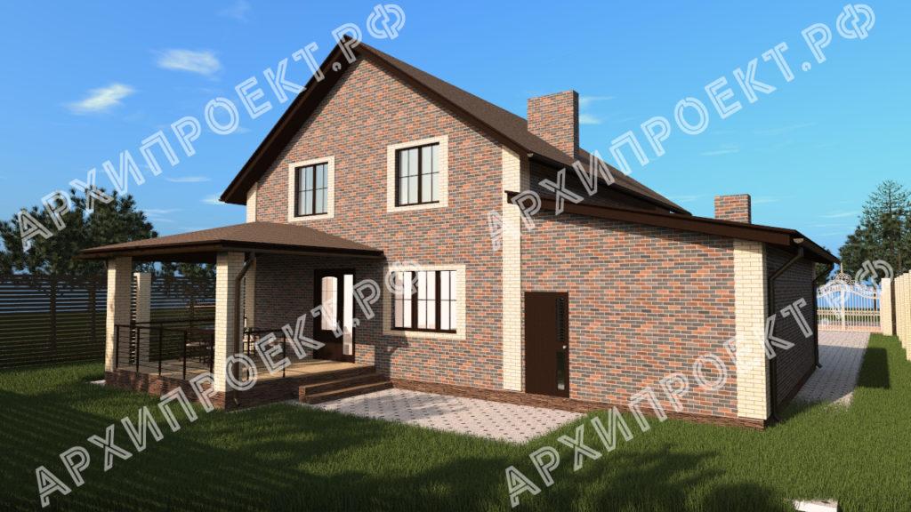 Проект красивого дома с мансардой с гаражом