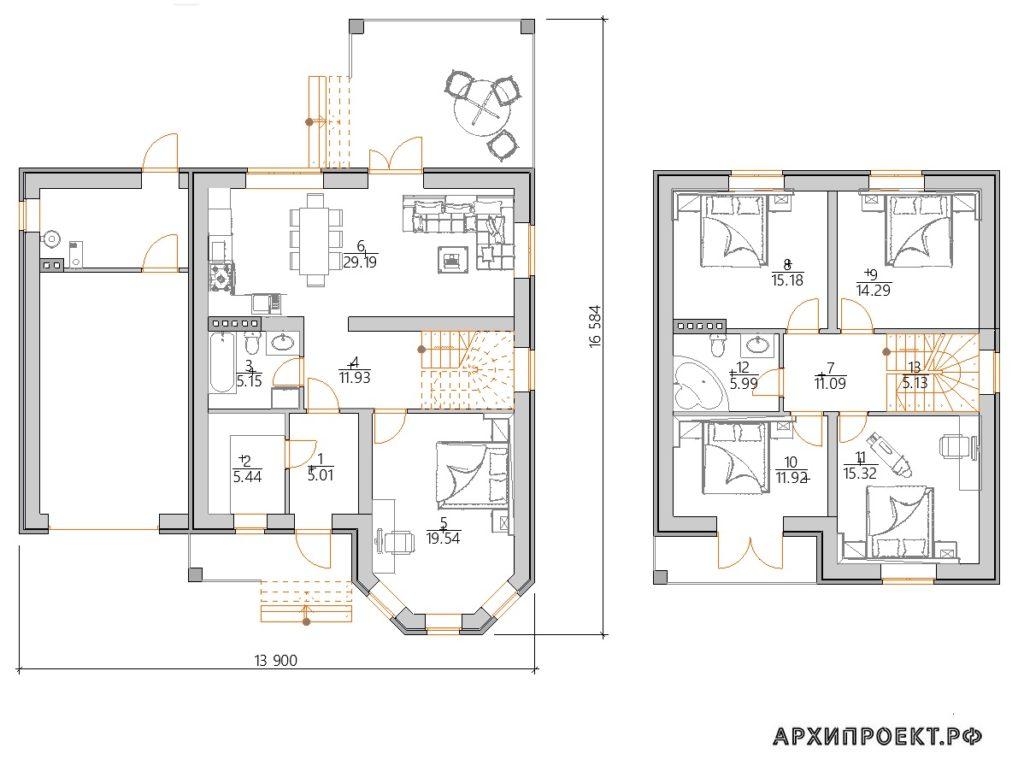 Проект красивого дома с мансардой планировка