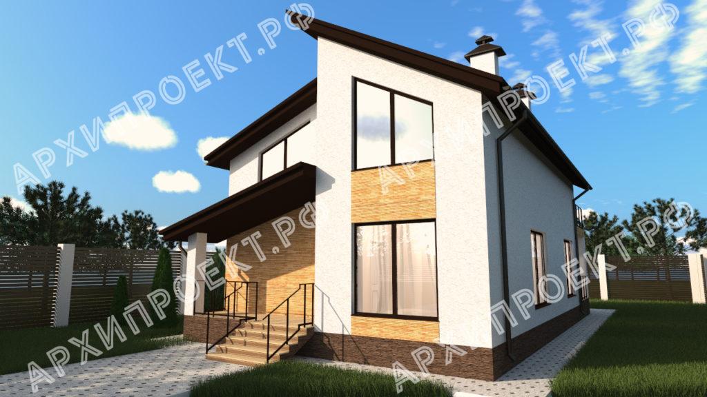 Проект дома с сауной с панорамными окнами