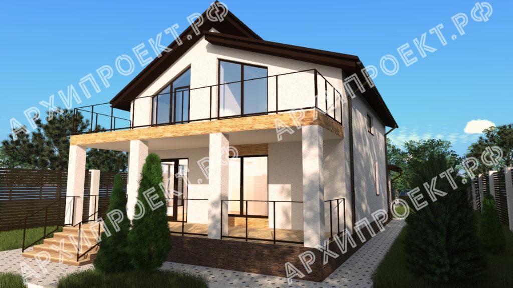 Проект дома с сауной с террасой