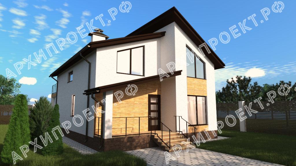 Проект дома с сауной с террасой и балконом