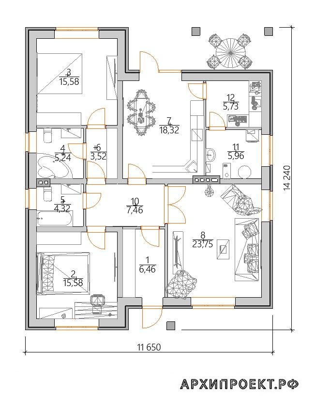 Одноэтажный дом планировка планировка