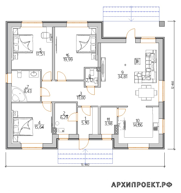 Планировка Одноэтажный дом с зеленой крышей