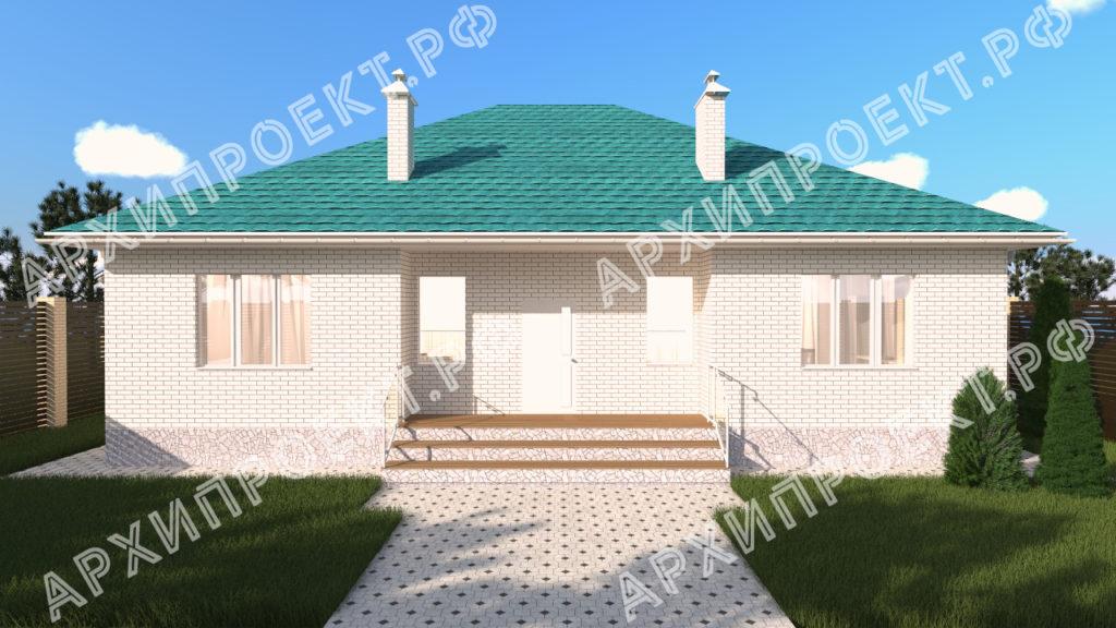 Одноэтажный дом с зеленой крышей