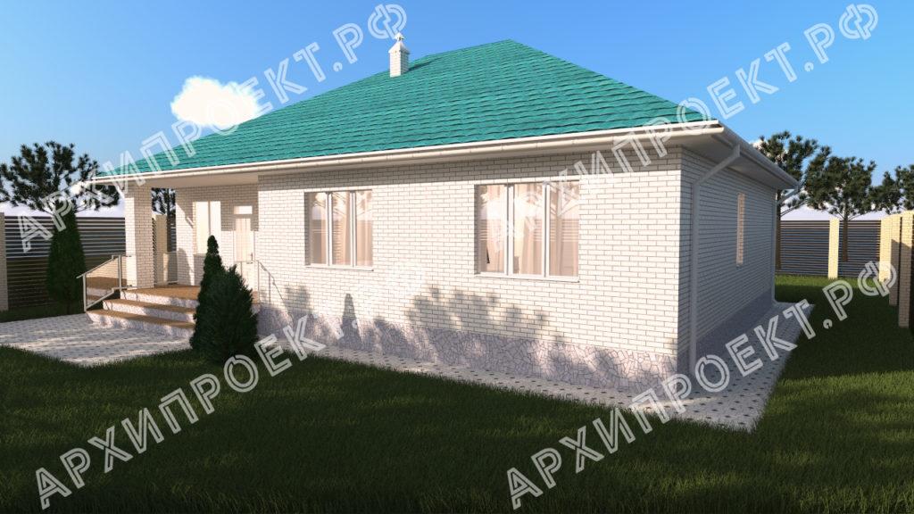 Одноэтажный дом с зеленой крышей с террасой