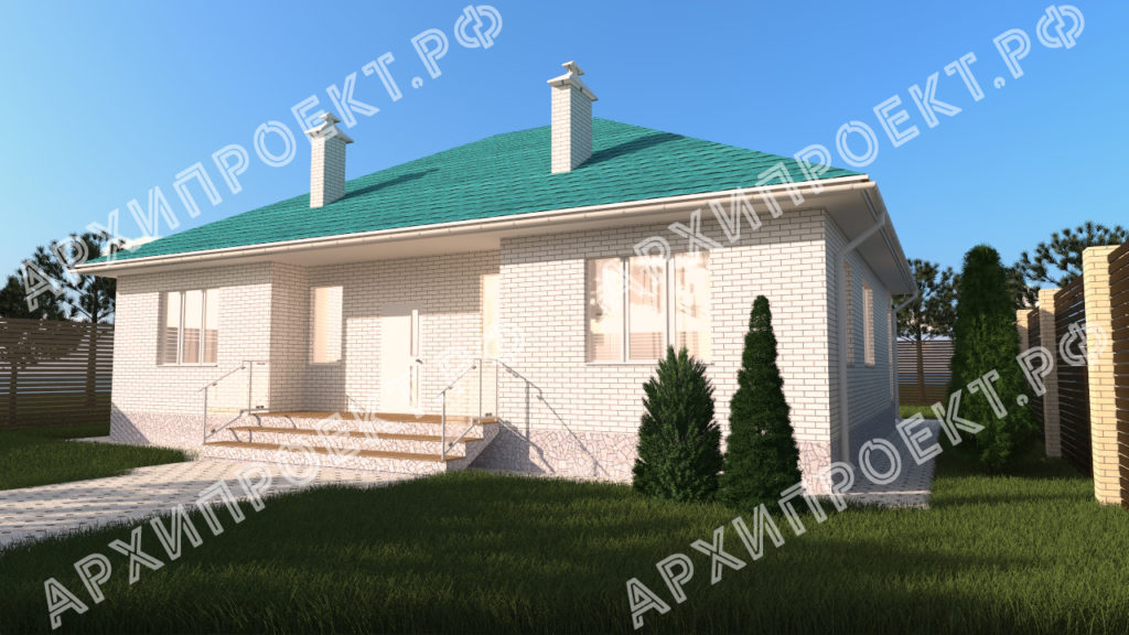 Одноэтажный дом с зеленой крышей купить проект
