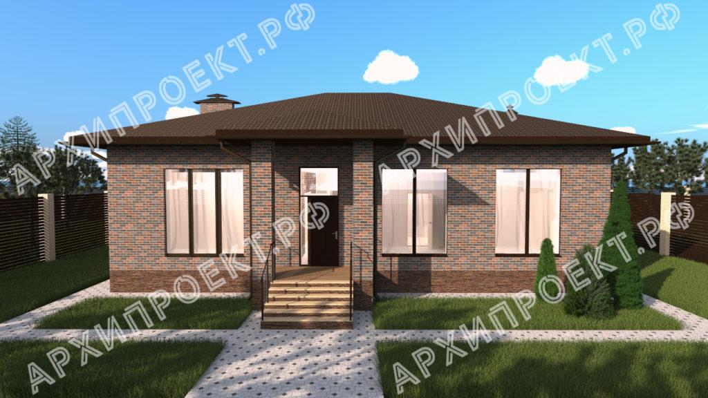 Дом с большими окнами и камином