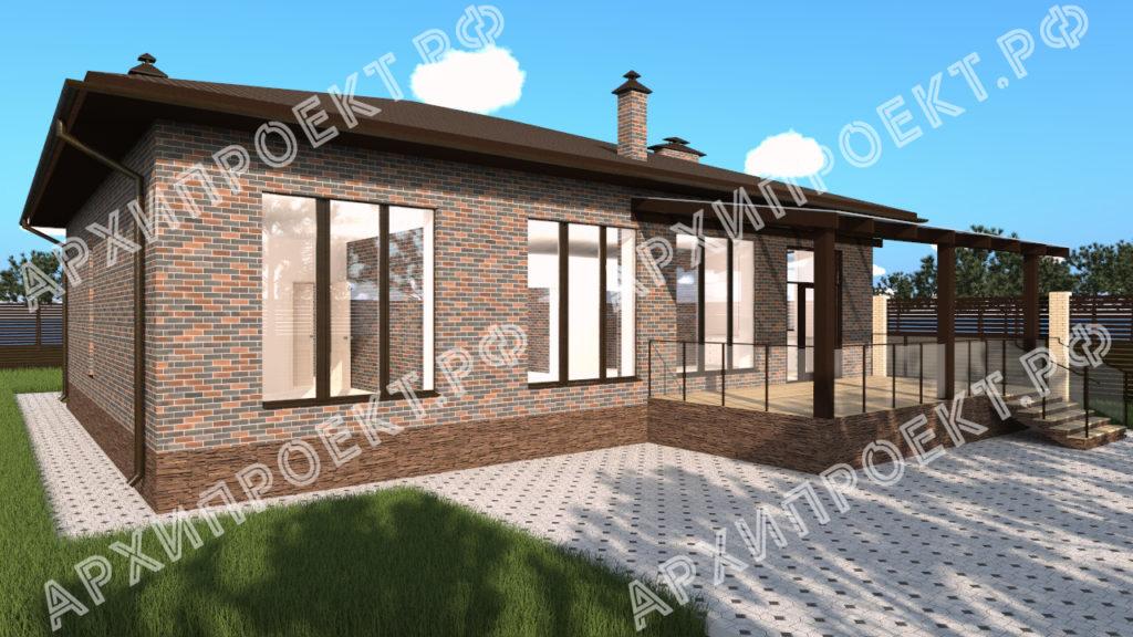 Дом с большими окнами и камином с террасой