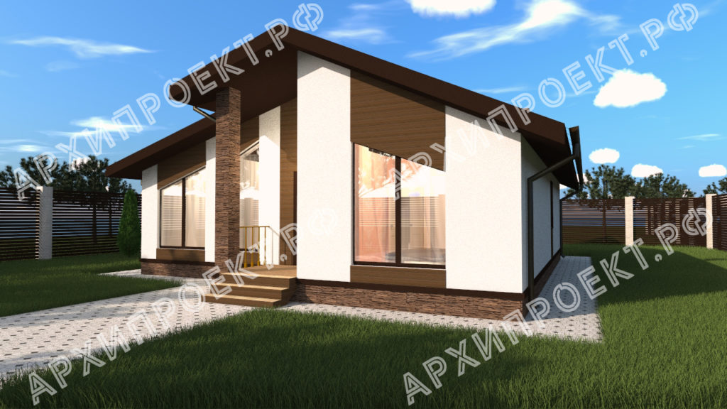 Дом в стиле шале с большими окна