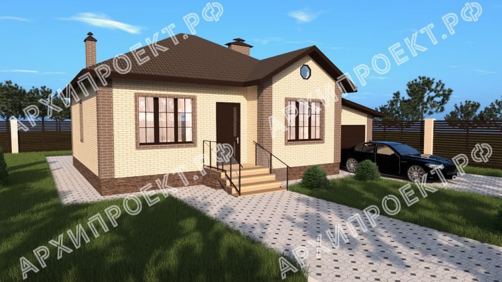 Проект одноэтажного дома 100 кв м с тремя спальнями №171