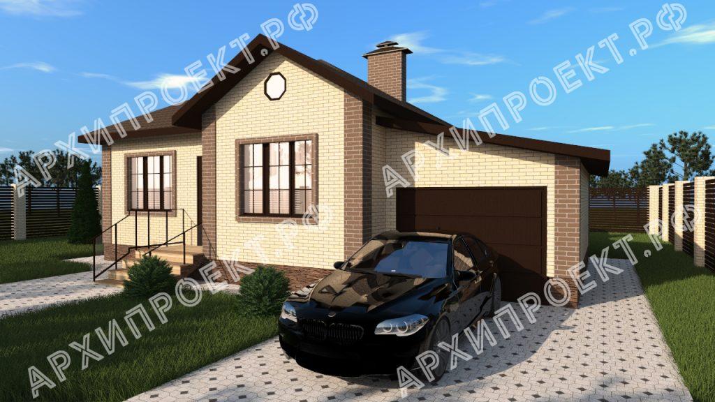 Проект одноэтажного дома с гаражом и тремя спальнями №171