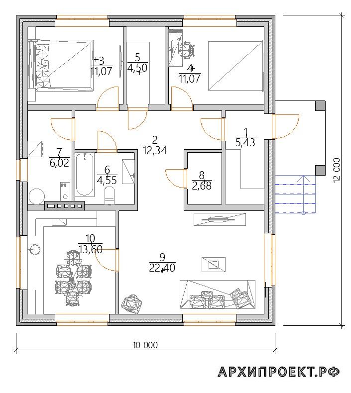 Проект одноэтажного дома 10 на 12 с раздельной кухней и гостиной
