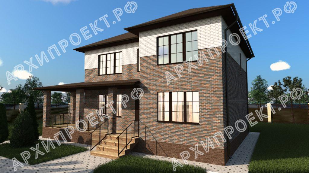 Двухэтажный дом с сауной и большой террасой проект