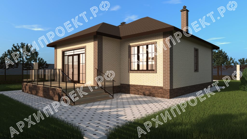 Проект одноэтажного дома с гаражом 100 кв м с тремя спальнями №171