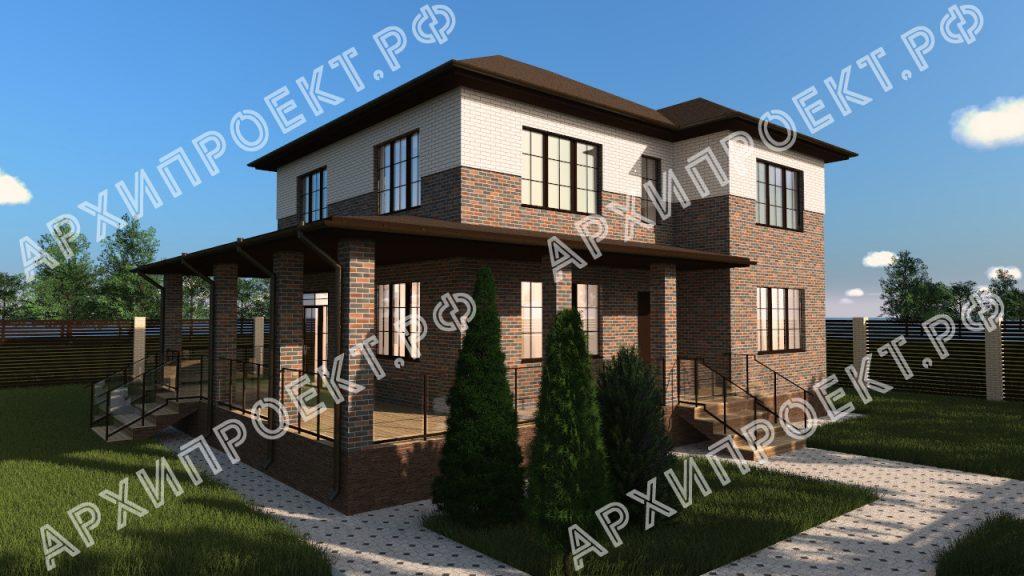 Двухэтажный дом с сауной и большой террасой купить проект